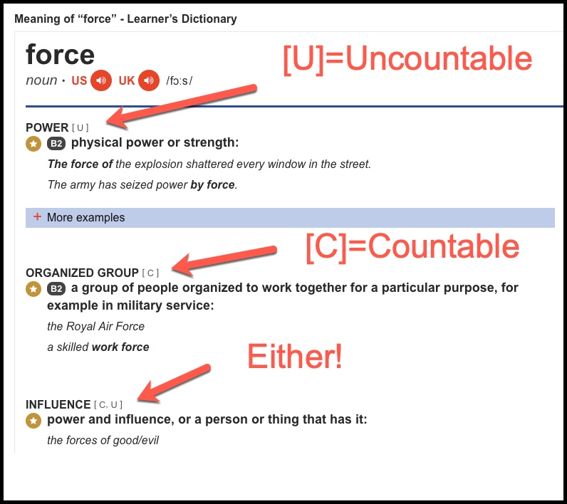 Example of countable and uncountable noun - force - Cambridge
