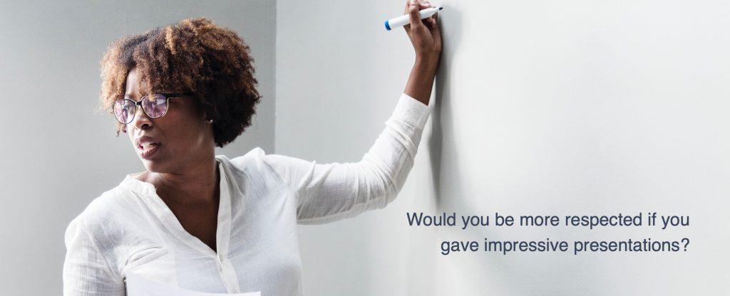 Woman giving academic presentation