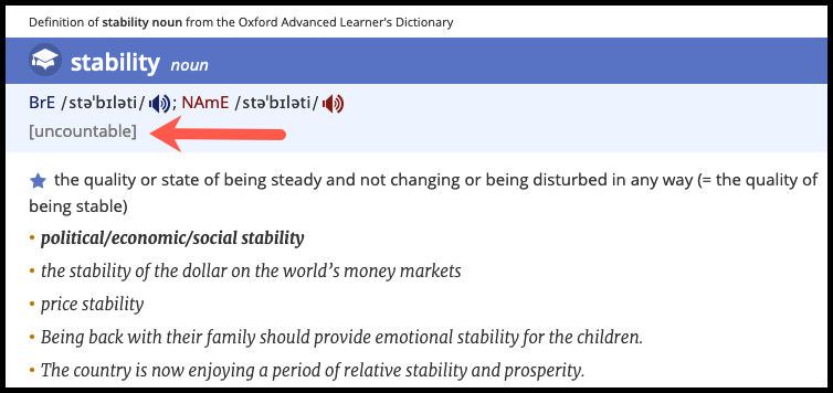 Uncountable Noun example - Stability - Oxford