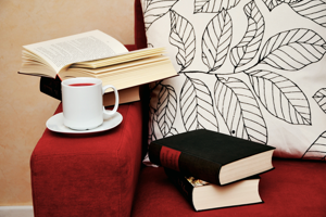 Humanities Research - books and tea on chair