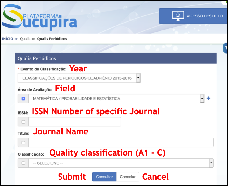 screenshot of Qualis search interface