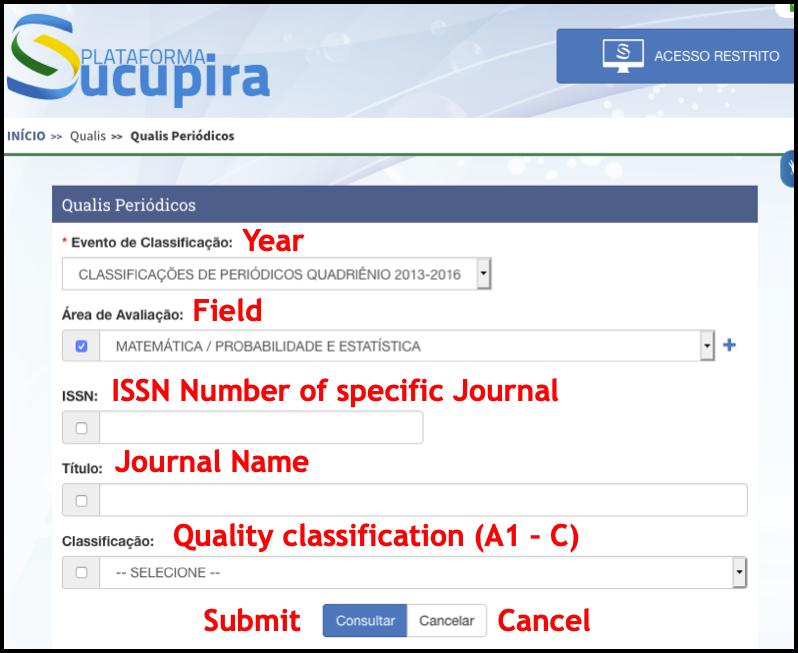 screenshot of Qualis search interface
